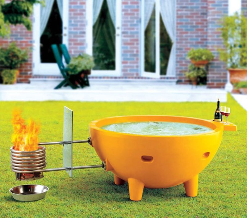 ALFI brand FireHotTub-YE Round Fire Burning Portable