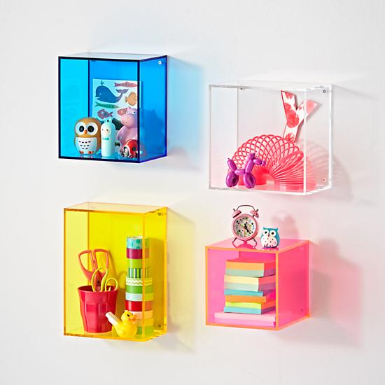 Acrylic cube wall shelves