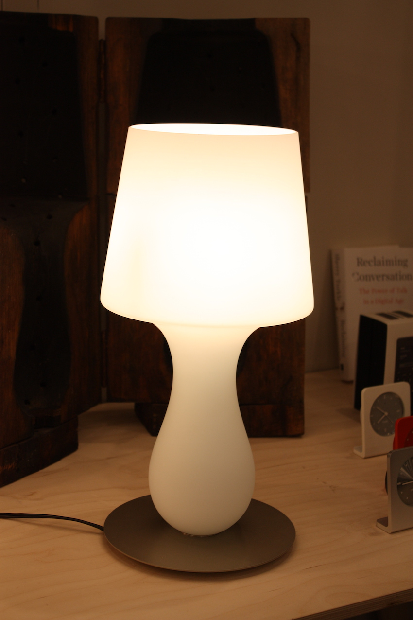 Ameico Design showed this softly luminous lamp called the Fata Glass Table Lamp. A smaller version is called the Fatina. Designed by Michele De Lucchi. The glass table lamps is made from white Murano.