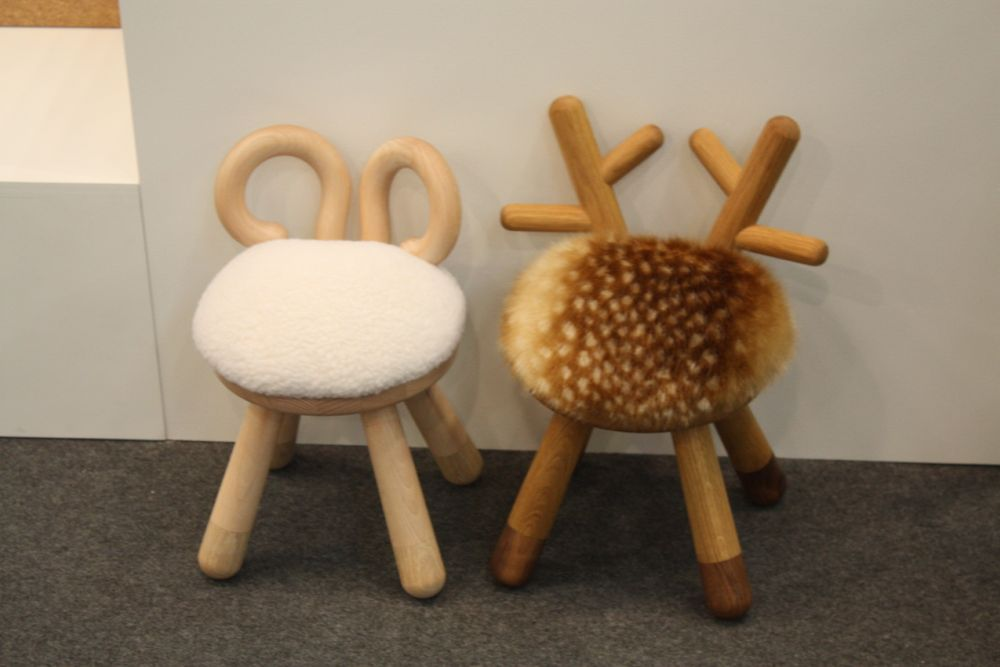 These are about the cutest stools we've seen. The Elements Optimal Bambi chair and Sheep Chair are fuzzy, cute and comfy. Designed by Takeshi Sawada, they are made from white oiled Beech and European oak, and faux fur. Bambi is made from American walnut.
