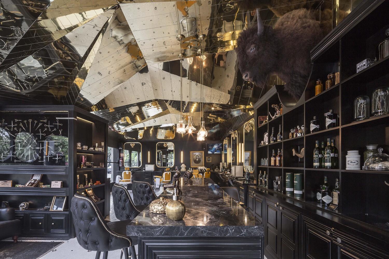 Barberia Royal by ROW Studio marble countertop bar
