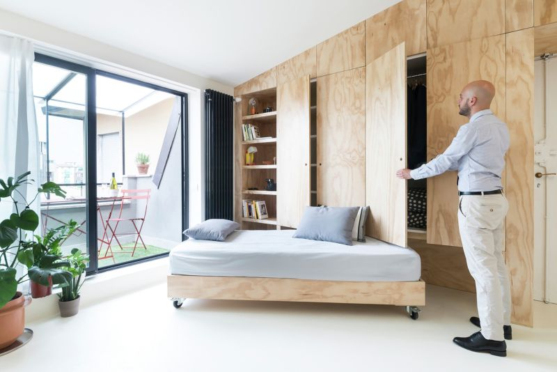 Batipin Flat apartment storage systems and bed on wheels