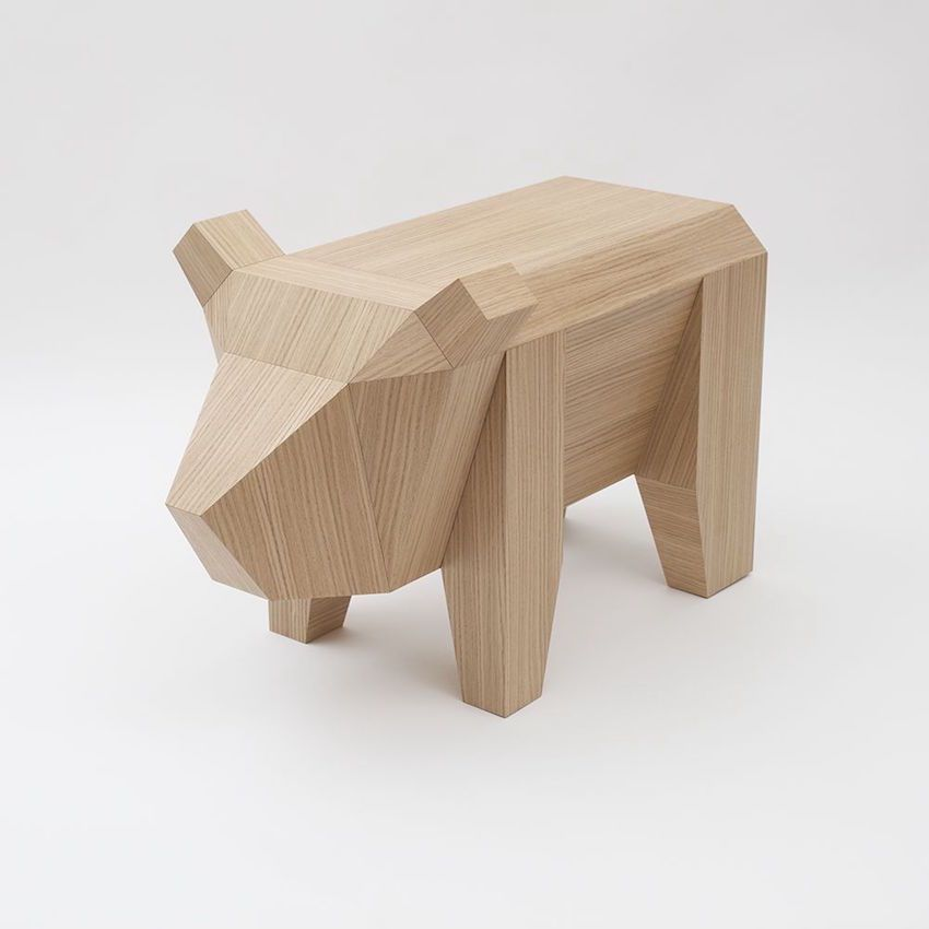 Cute is the only word to describe this little table. Called the Bear table, it is designed by Alexander Kanygin and made of <BF and walnut veneer.