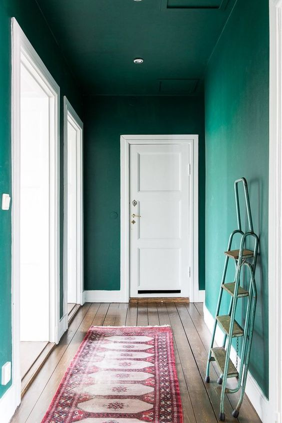 Brightly painted hallway styling