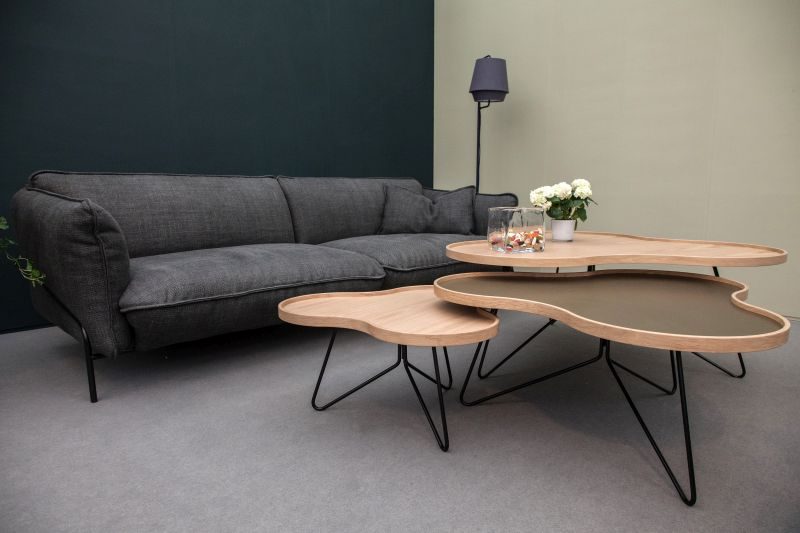 Brown irregular coffee table with hairpin legs