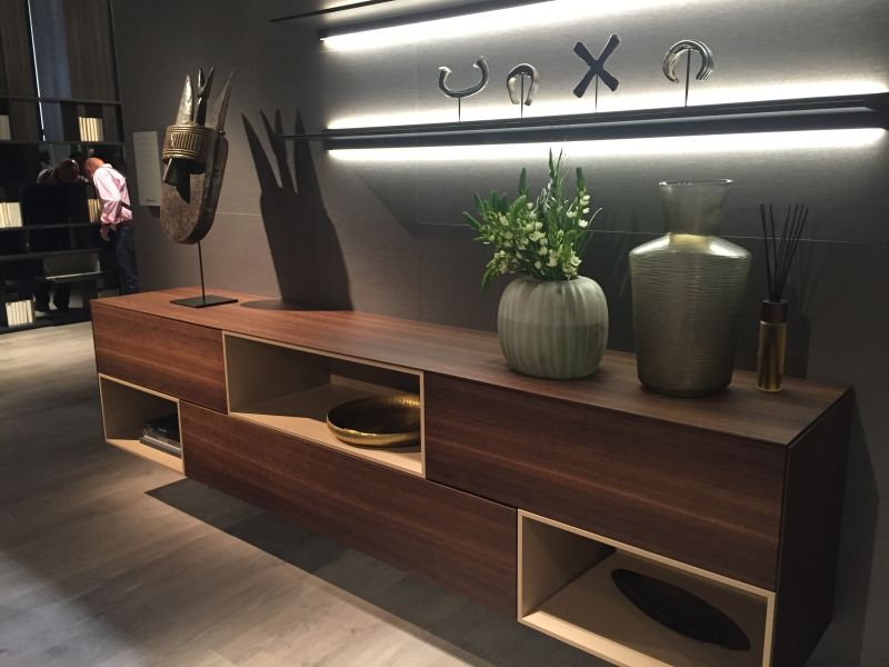 Brown sideboard with open spaces