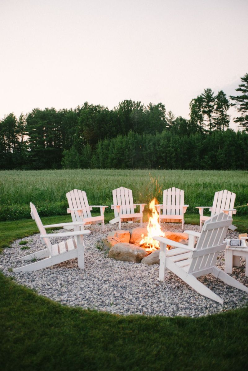Built in firepit and chairs around