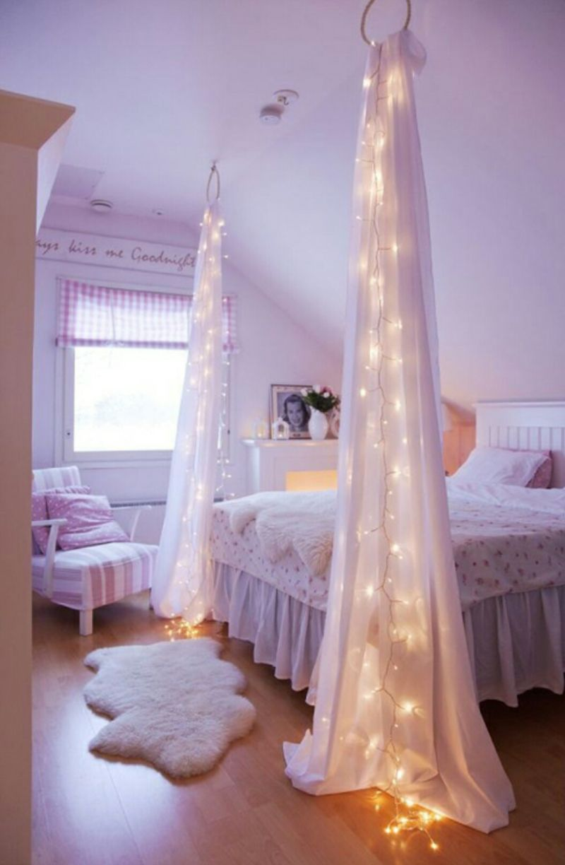 Canopy bed with lights