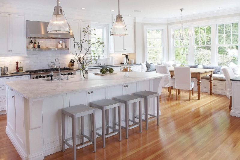 chic and feminine kitchen design in white - Wood Floor Design Ideas