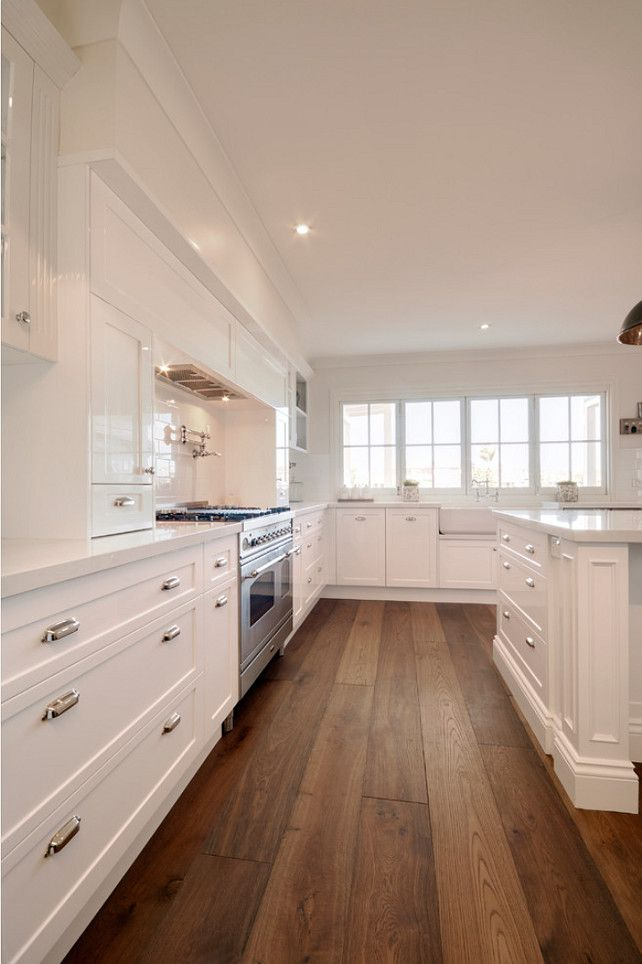 White Kitchen Flooring Ideas Part - 24: Clean White Kitchen Design With Wood Floor