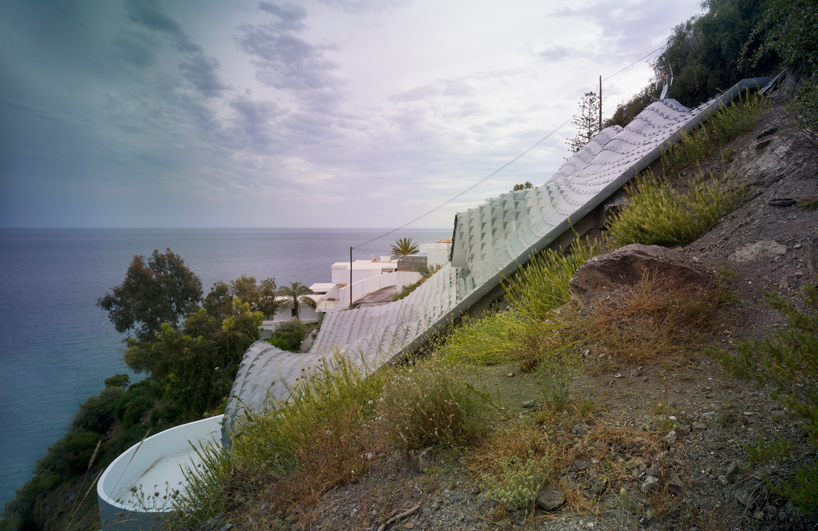Cliff roof house angle view