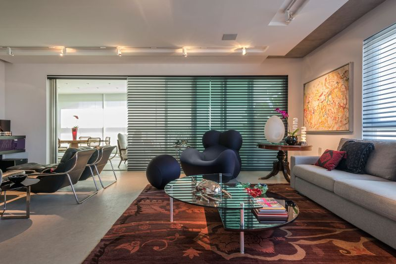 Colorful apartment in Brazil living room lounge