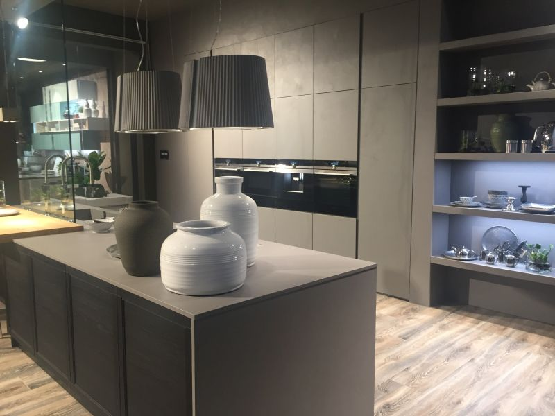 Contemporary kitchen with clean lines and grey color