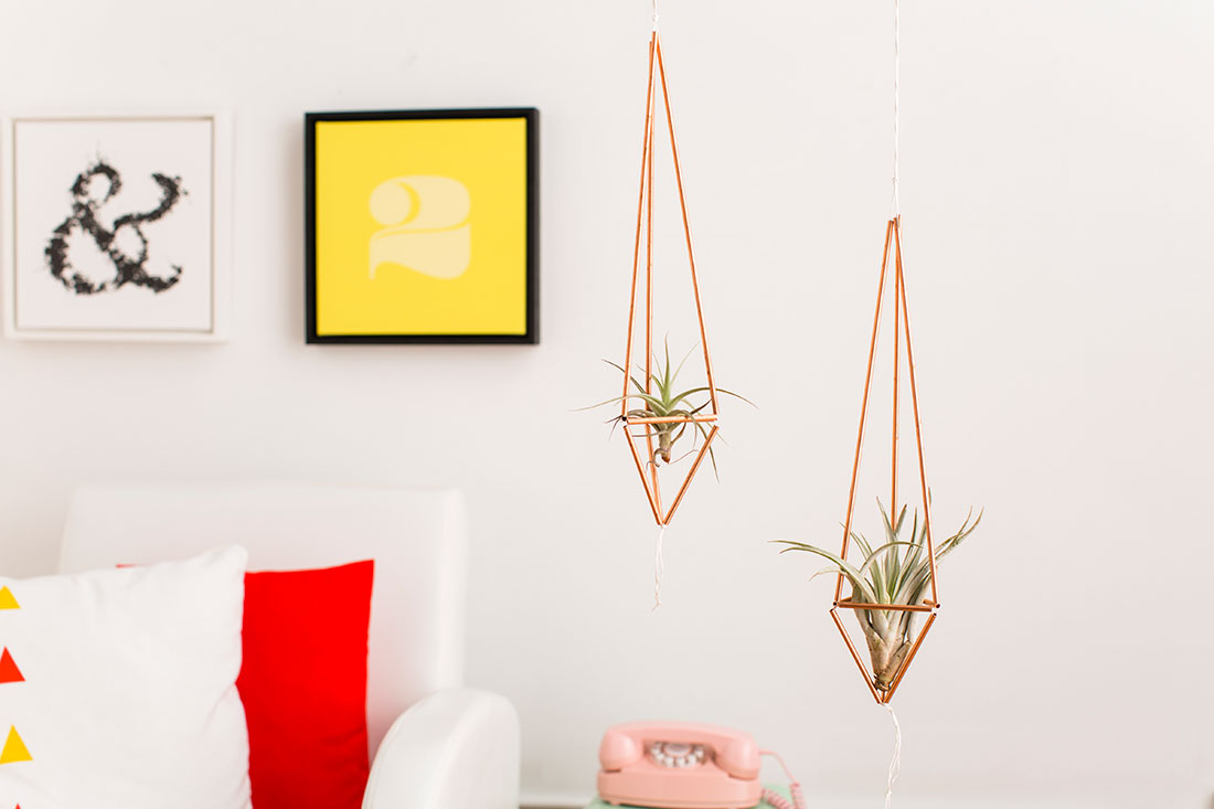 Copper plant hanger for air plants