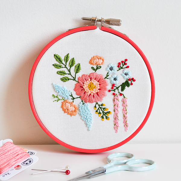 Cross Stitch embroidered bouquet
