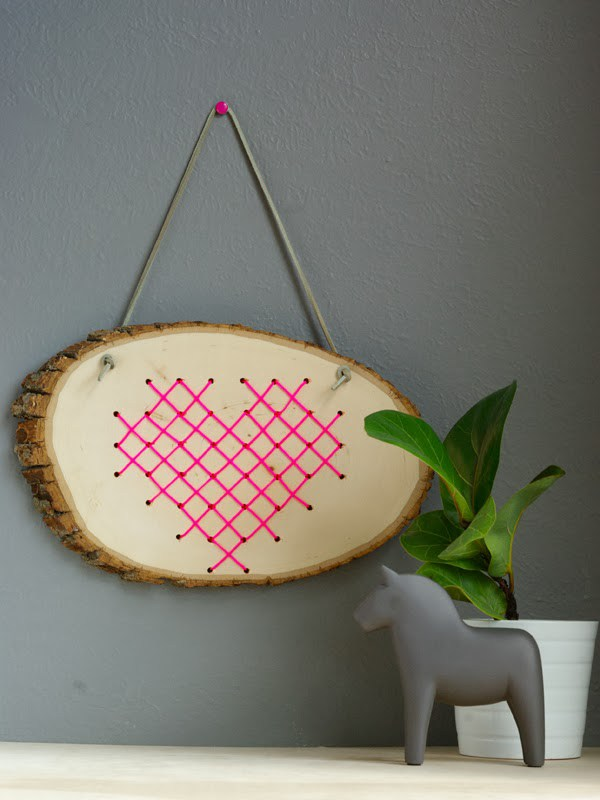 Cross stitch heart in wood