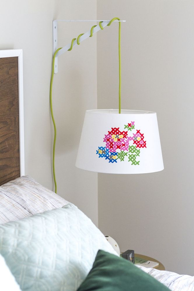 Cross stitch lamp shade