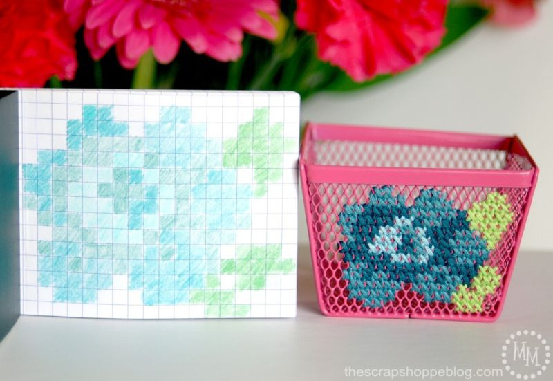 Cross stitch office storage container