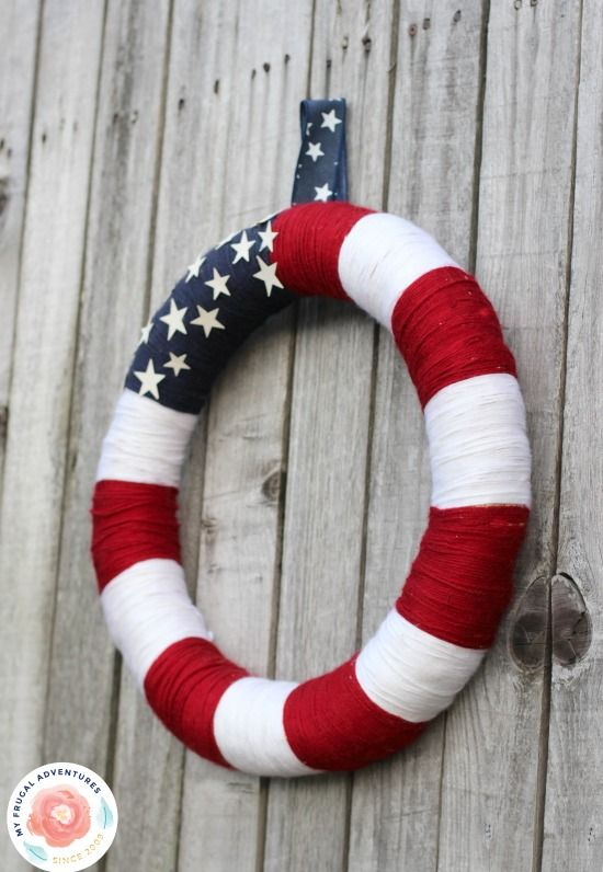 DIY flag string wreath