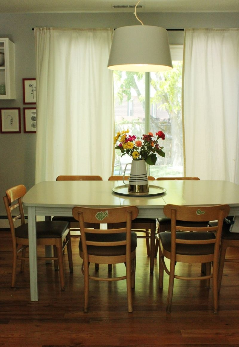 Dining room and wooden chairs after renovation