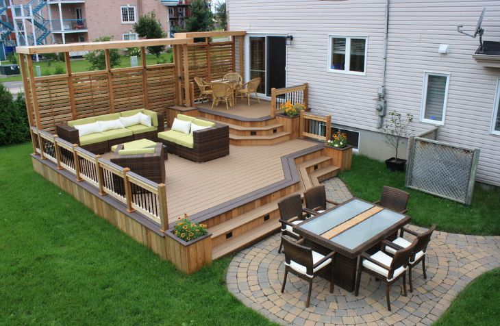 A raised deck becomes a separate zone by itself, standing out from the rest of the space