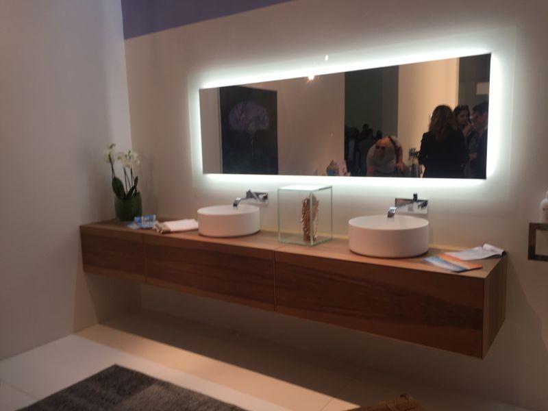 Floating brown bathroom vanity