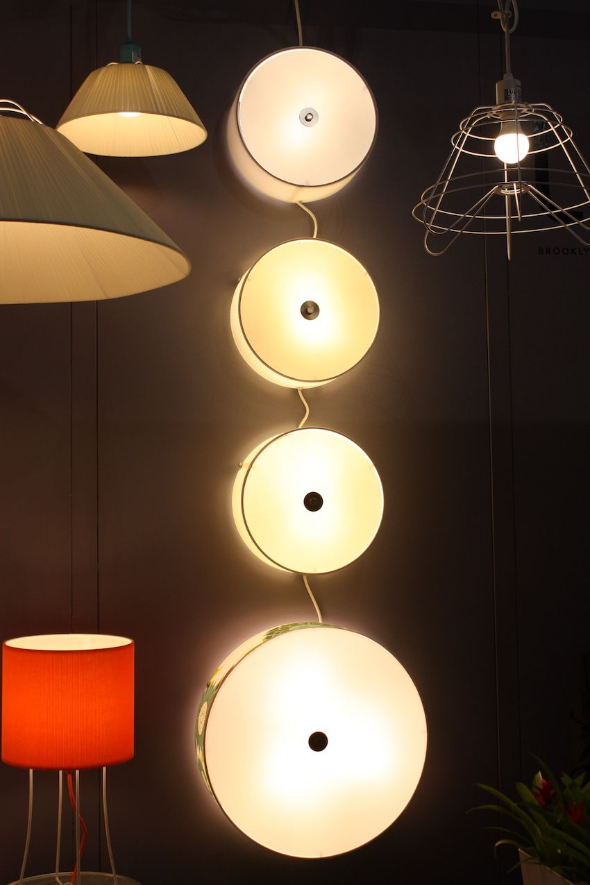 This set of flush-mounted wall lights reminds us of giant buttons. The fixture is by All Lights Up, which creates its bespoke lamp shades are made in Brooklyn. Founder Rachel Simon and her nephew Tom Simon have been designing the products since 1987.
