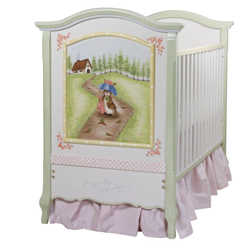 Her French Panel Crib in Enchanted Forest is a delicate painting sure to enthrall parents and delight children.