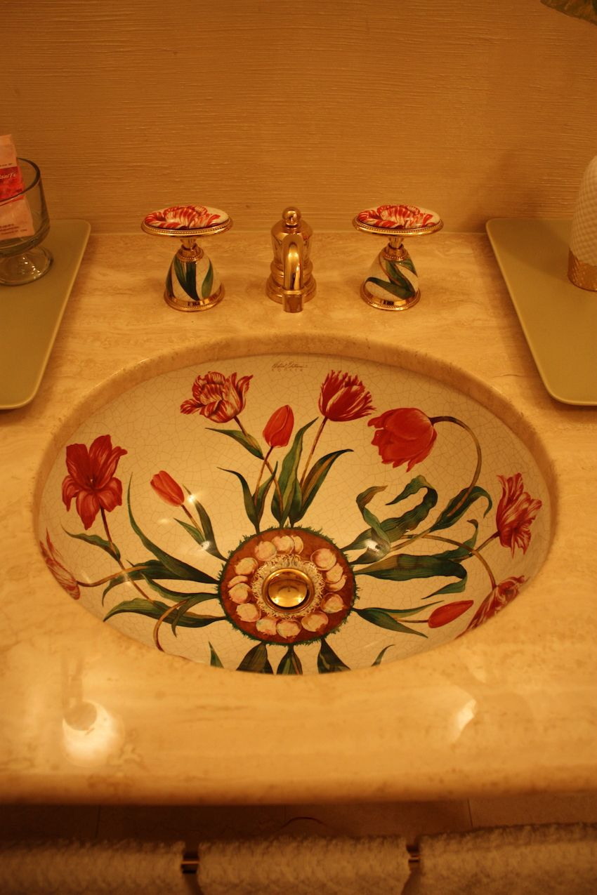 "Even the sink sports a flowery, tulip finish. This is Kohler's Artist Edition ""Flowers and Fables"" bathroom fixture."