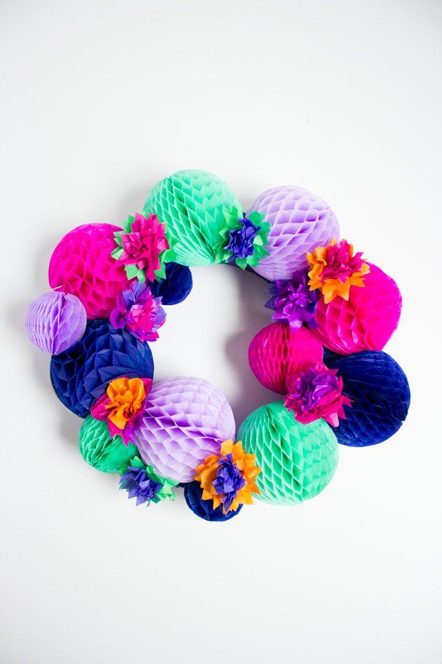 Honeycomb balls wreath