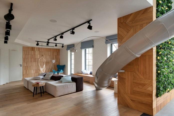 Indoor slide stylish apartment