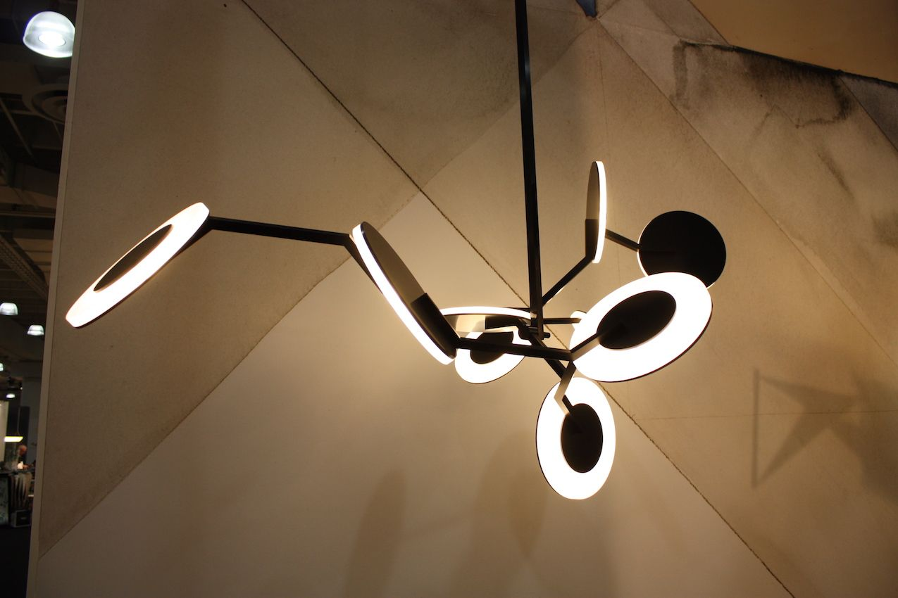 Disco was another ICFF debut lighting fixture for Dieter. The LED discs are great.