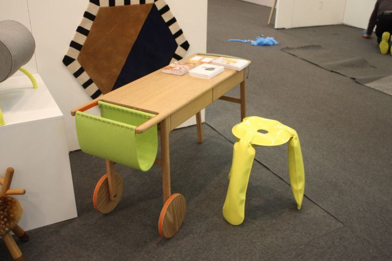 Paired with the Plopp Jr. Stool is Kinder Modern;s rolling desk, designed by Michael Yates. Created from white oak, felt, and paracord, it's a durable, portable and useful piece for any child's room.