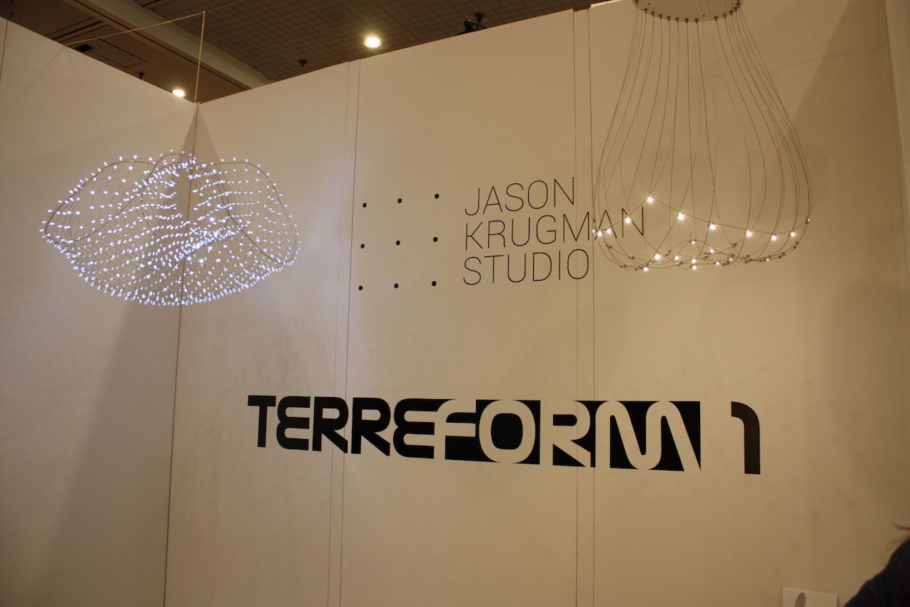 Krugman teamed up with Terreform to display his ethereal light fixtures in their booth.
