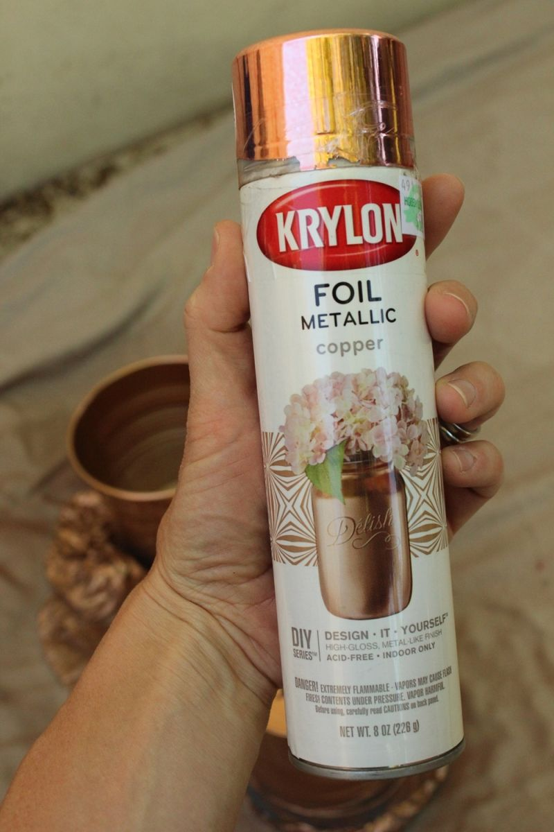Ikea hack diy copper galvanized planter pots for How to make metallic paint