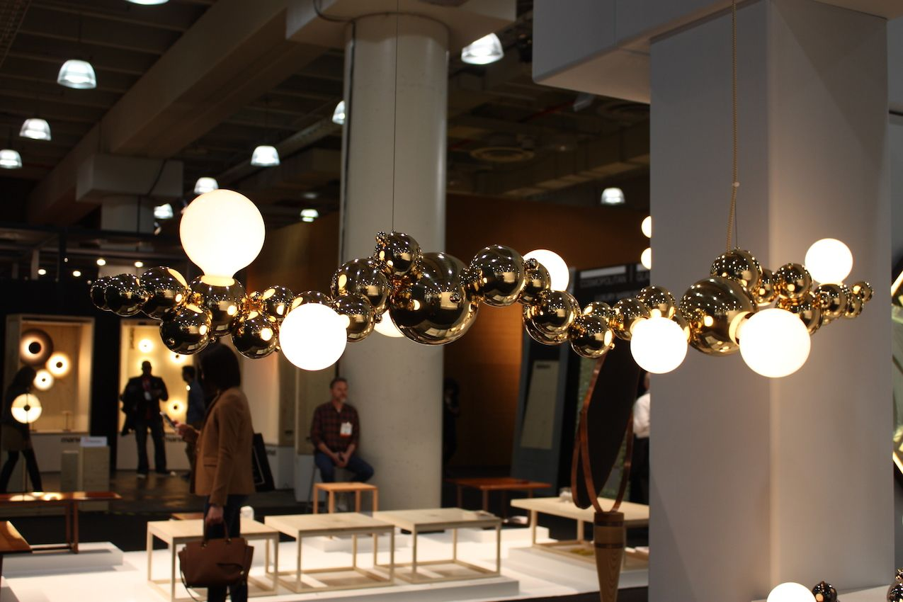 This large and luminous suspension light is just like bubbles floating on the moving surface of water. Presented by Volk Lighting, it's a one-of-a-kind piece.