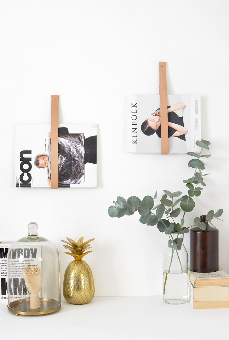Leather strap magazine hanger