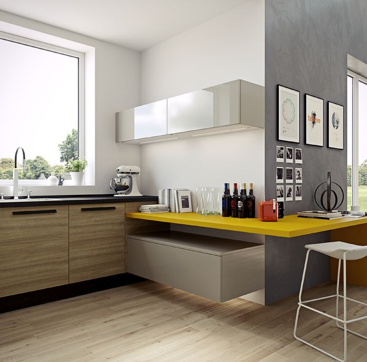 Masculine Kitchen Design With Bold Yellow Accents