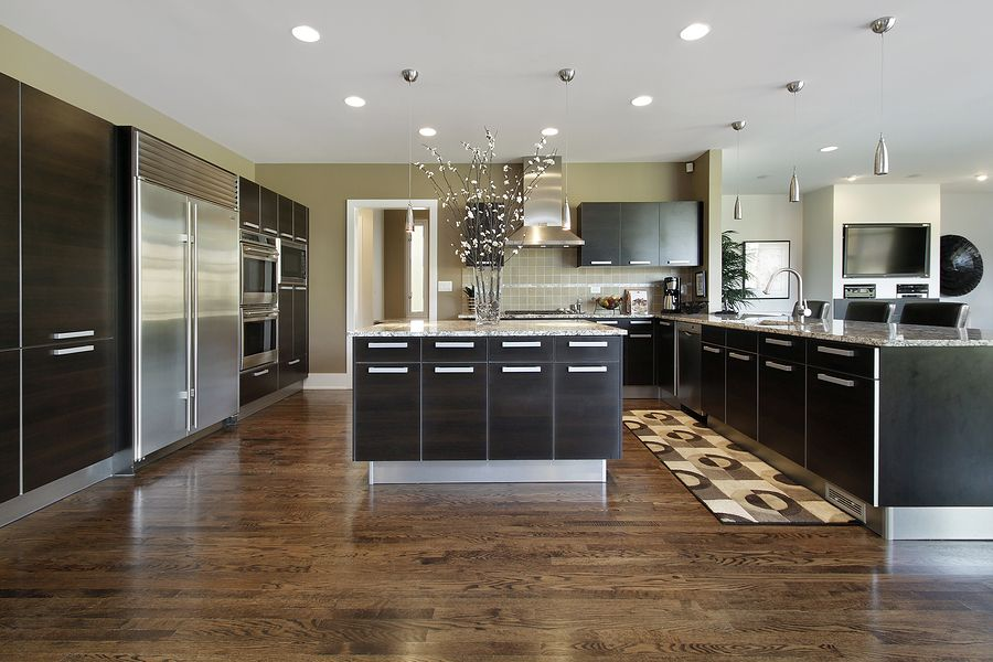 dark wood floors in kitchen. Modern edge kitchen design 20 Gorgeous Examples Of Wood Laminate Flooring For Your Kitchen