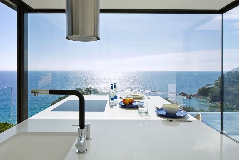 Modern residence in Catalunya kitchen view of the sea