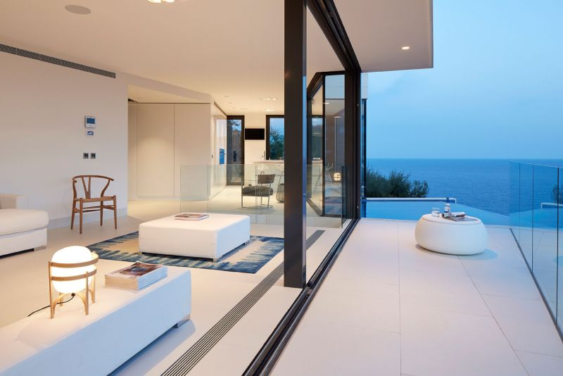 Modern residence in Catalunya living room and terrace