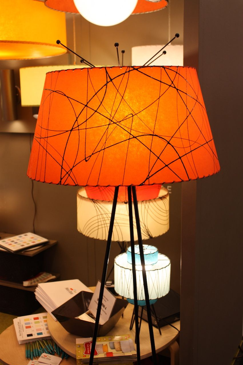 "Moon Shine Lamp and Shade had all sorts of fun and funky shades, and we particularly like them in this table lamp. The ""antennae"" at the top play of of the lines in the shade, adding some whimsy to an already fin design."