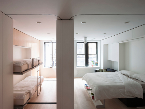 Movable walls NYC Apartment Bunk Beds
