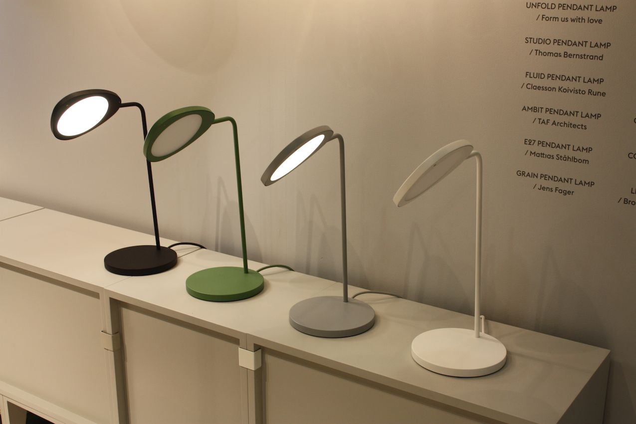 "Muuto also presented task lighting in the for of the Leaf. This table lamp is Inspired by the leaves on a tree, and the silhouette changes on the positioning of the lamp's shade and your viewing angle. Available in two sizes, the Leaf all comes with a dimming function. Designed by Swedish design partners Mats Broberg and Johan Ridderstrale, the lamp has their trademark aesthetic rationality and ""touch of humor and wit."""