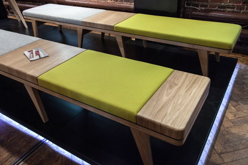 Natural wood brown bench with green and grey