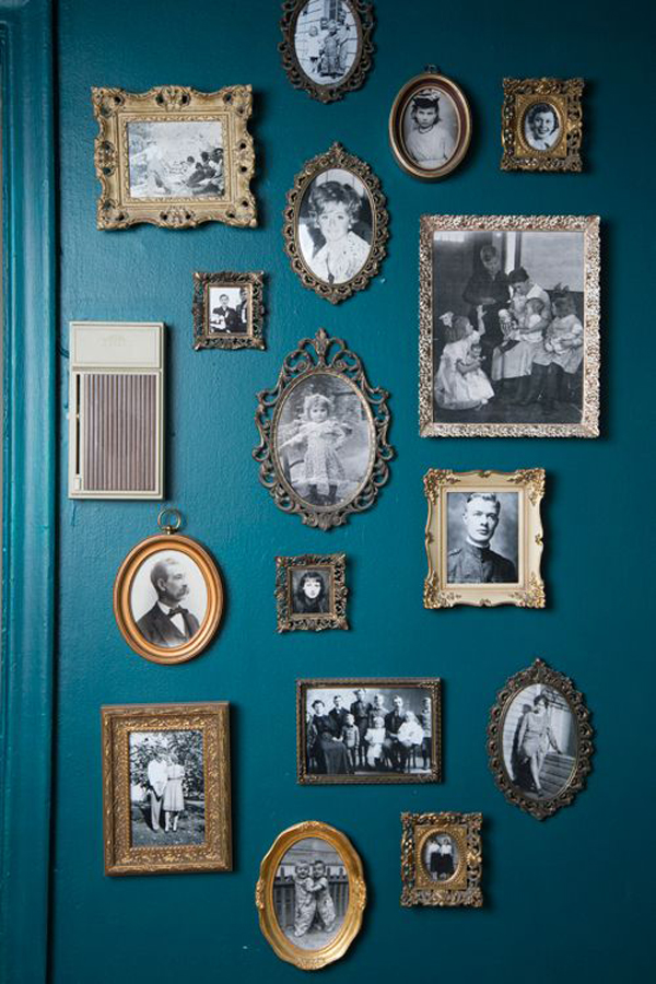 Old family photo wall