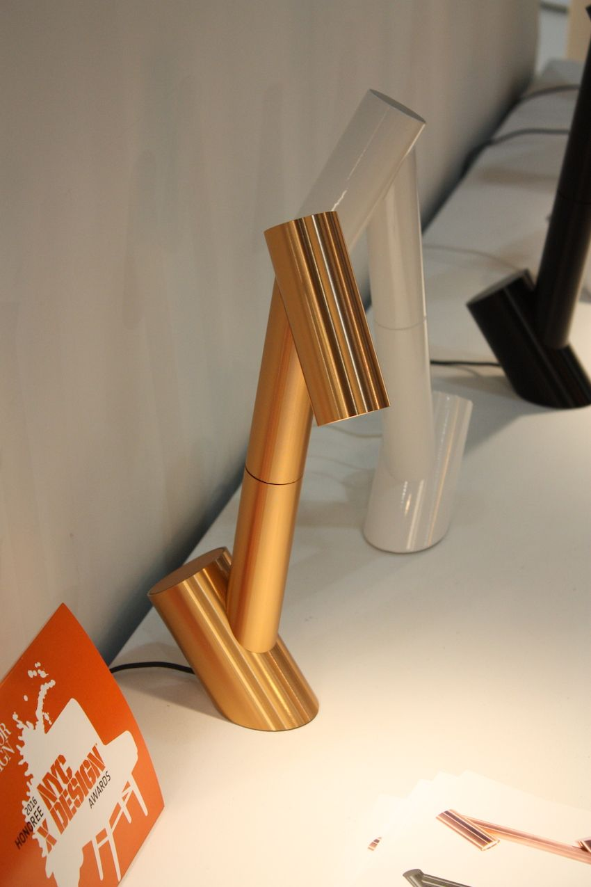 Pablo Designs introduced its Giraffa desk light at ICFF 2016. The playful, little desk lamp works anywhere at home or in your office: on your desk, atop a nightstand, or is reading nook. The shade turns a full 360° giving this little guy powerful lighting functionality. It is available in brushed copper, black anodized aluminum and gloss white lacquer. the LED light source is dimmable.