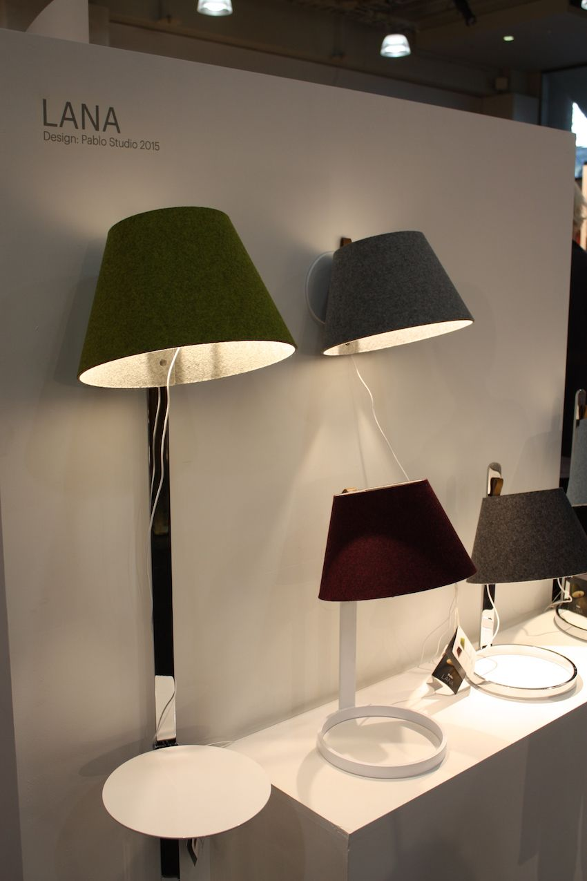 Pablo's Lana lamp features a unique magnetic felt shade that can be attached in many ways. A magnetic LED allows the light to be attached to any ferrous surface, making it all at once a wall, table, and floor model. This level of adaptability make it highly functional.