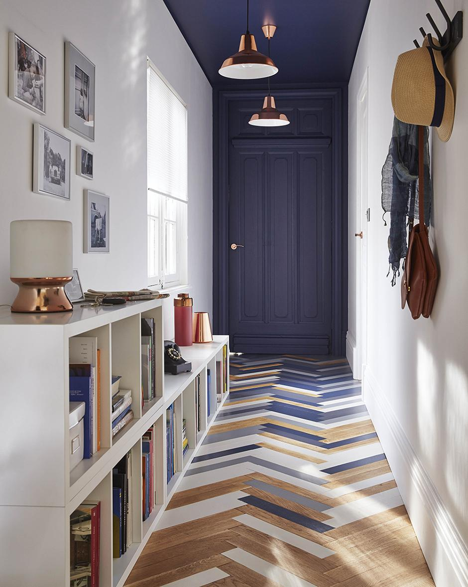 Painted floorboards hallway styling