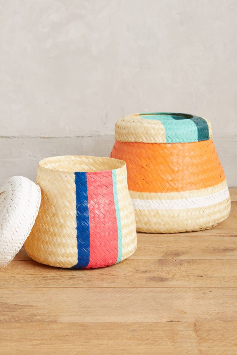 Painted woven basket